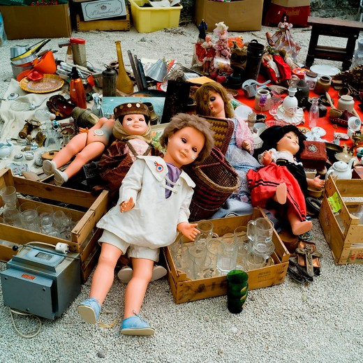 Stock Photo: 4285-11203 puppets display at annual flea market sault village provence france