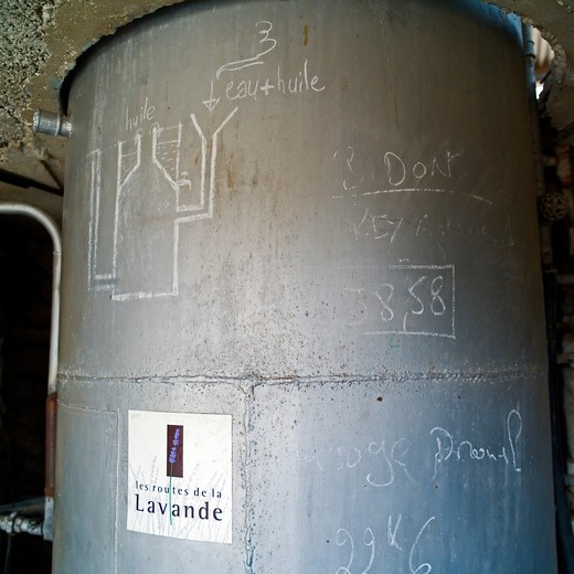 Stock Photo: 4285-11252 still at distillerie du vallon lavender oil distillery provence france