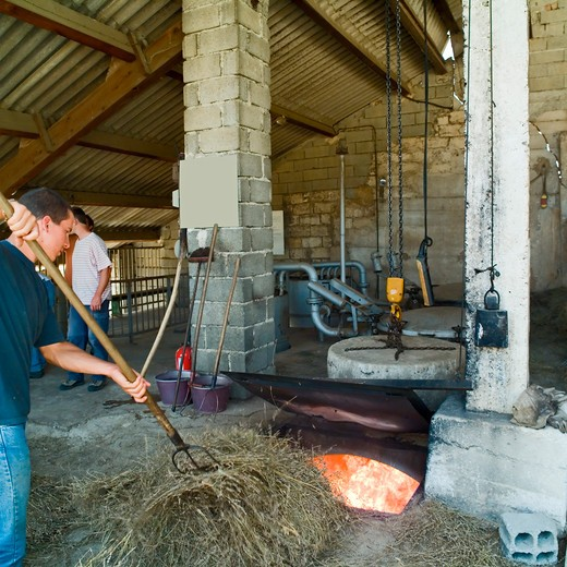 Stock Photo: 4285-11254 man stoking the fire with dried lavenders distillerie du vallon lavender oil distillery provence france