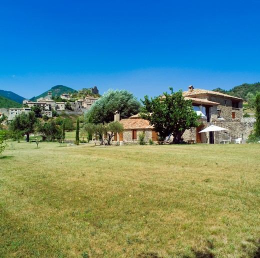 pr renovated water driven olive mill house and reilhanette village provence france : Stock Photo