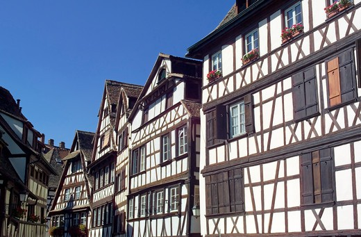 half-timbered houses la petite france district strasbourg alsace france : Stock Photo