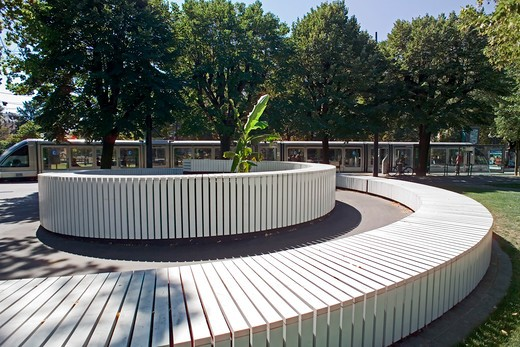 Stock Photo: 4285-11532 warburg spiral 60 meters long and round bench by bert theis 2002 on republique square strasbourg alsace france