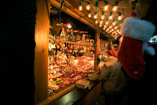 christkindelsmarik christmas market strasbourg alsace france : Stock Photo