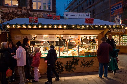 hot spiced wine and pancake merchant at christmas market offenburg baden-wrttemberg germany : Stock Photo