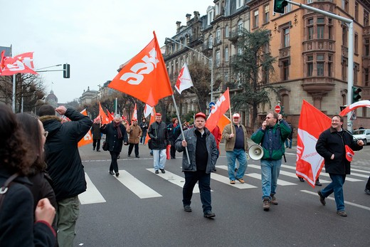 april 2006 protest march against bolkenstein liberalization of eu services market directive strasbourg alsace france : Stock Photo