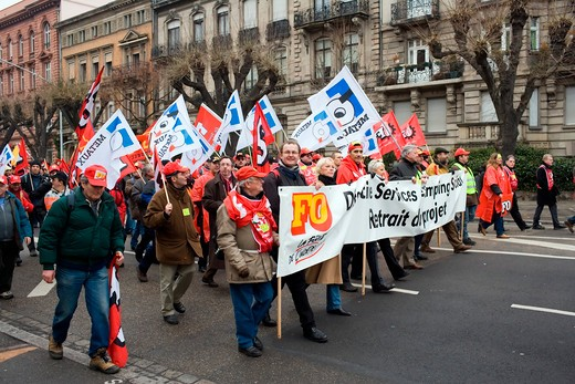 Stock Photo: 4285-11954 april 2006 protest march against bolkenstein liberalization of eu services market directive strasbourg alsace france