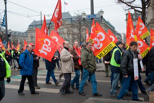 Stock Photo: 4285-11967 april 2006 protest march against bolkenstein liberalization of eu services market directive strasbourg alsace france