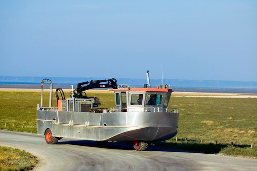 Stock Photo: 4285-12403 amphibian truck for mussel gathering brittany france