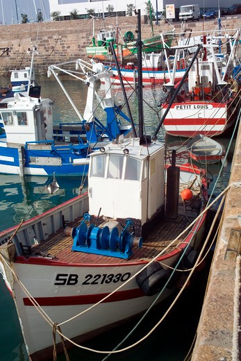 Stock Photo: 4285-12697 scallop fishing boats erquy fishing harbour brittany france