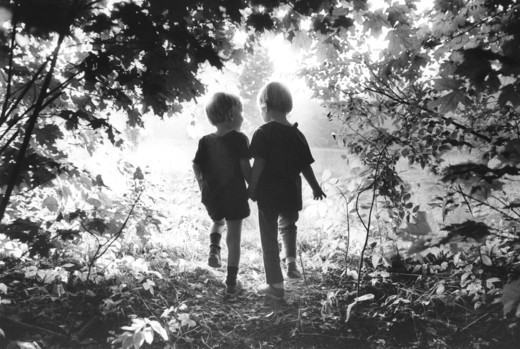 Stock Photo: 4285-1279 Silhouette of brother and sister walking through the woods together.
