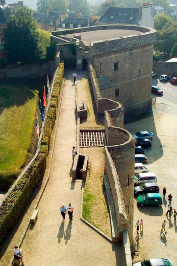 watch-path of castle 13th century dinan brittany france : Stock Photo