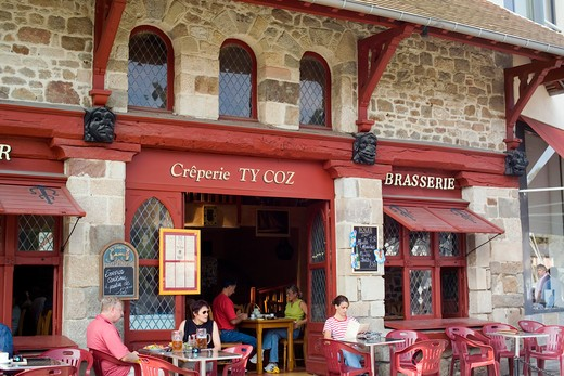 pancake restaurant's terrace harbour of dinan brittany france : Stock Photo