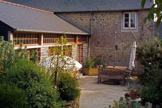 house terrace brittany france : Stock Photo