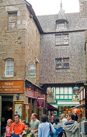 Stock Photo: 4285-12936 grande rue main street in mont-st-michel normandy france