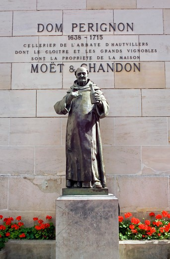 dom perignon statue at moet & chandon winery epernay champagne france : Stock Photo
