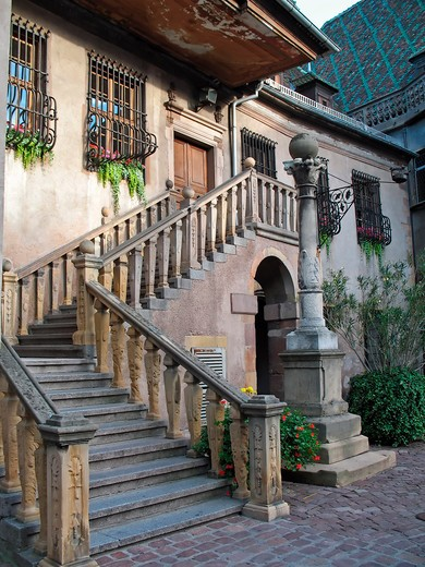 stairs to the guardroom of koifhus former customs house 15th century colmar alsace france : Stock Photo