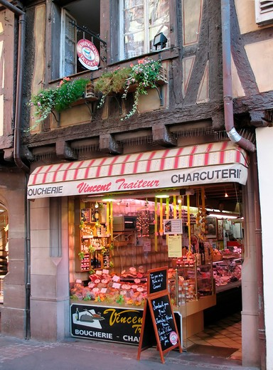vincent pork butcher and delicatessen shop colmar alsace france : Stock Photo