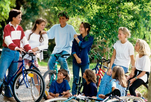 Stock Photo: 4285-13169 mr group of children and teenagers with bikes