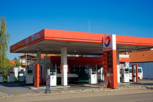 Stock Photo: 4285-13380 total car gas station germany