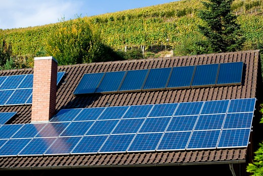 Stock Photo: 4285-13410 winery building with solar panel roofing and vineyard durbach baden-wrttemberg germany