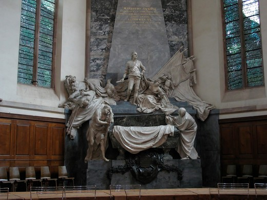 moritz von sachsen marshal of france mausoleum by sculptor pigalle 18th c. in saint-thomas church strasbourg alsace france : Stock Photo