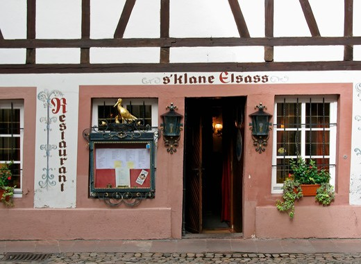 Stock Photo: 4285-13493 little alsace restaurant petite france district strasbourg alsace france