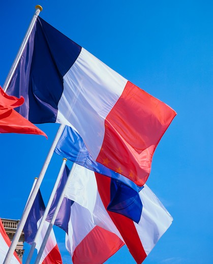 Stock Photo: 4285-13632 french and strasbourg flags strasbourg alsace france
