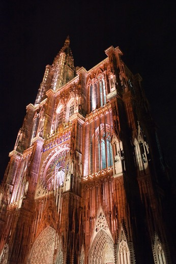 Stock Photo: 4285-13771 ILLUMINATED NOTRE-DAME GOTHIC CATHEDRAL 14th Century STRASBOURG ALSACE FRANCE