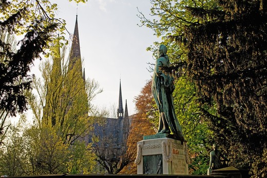 Stock Photo: 4285-13830 JOHANN WOLFGANG VON GOETHE MONUMENT AND ST-PAUL CHURCH SPIRES AT SUNSET STRASBOURG ALSACE FRANCE