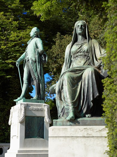 Stock Photo: 4285-13965 JOHANN WOLFGANG VON GOETHE MONUMENT BY ERNST WAEGENER 1904 STRASBOURG ALSACE FRANCE