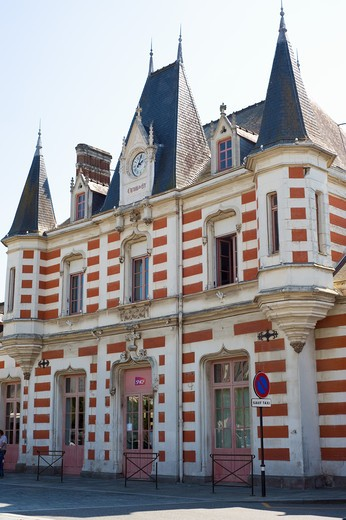 Stock Photo: 4285-14620 NEO GOTHIC RAILWAY STATION 1855 VITRE BRITTANY FRANCE