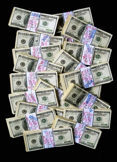 Stock Photo: 4285-15101 WADS OF U.S. $ 100 BILLS