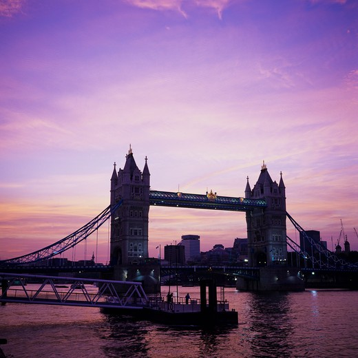 Stock Photo: 4285-15169 TOWER BRIDGE THAMES RIVER WITH SUNSET SKY LONDON ENGLAND GB UK