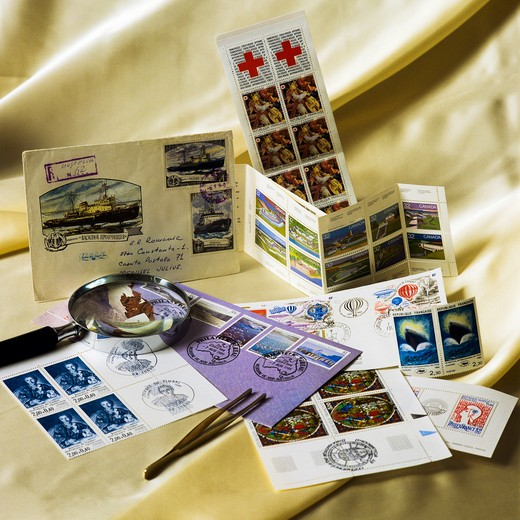 POSTAGE STAMP COLLECTION ENVELOPES AND SETS : Stock Photo