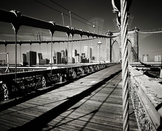 Stock Photo: 4285-15302 PRE 9/11 BROOKLYN BRIDGE AND LOWER MANHATTAN SKYLINE NEW YORK USA