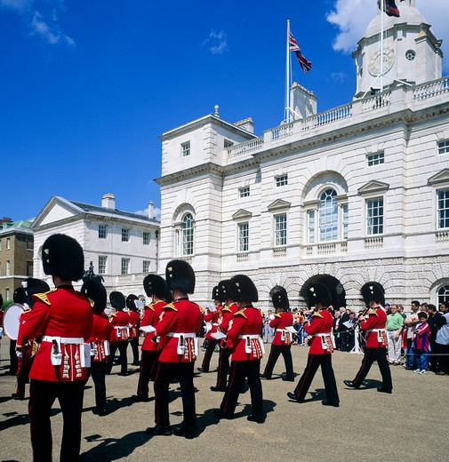 Stock Photo: 4285-15409 ROYAL WELSH GUARD MARCHING BAND PARADE WHITEHALL LONDON ENGLAND GB UK