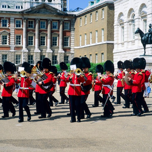 Stock Photo: 4285-15411 ROYAL WELSH GUARD MARCHING BAND PARADE WHITEHALL LONDON ENGLAND GB UK