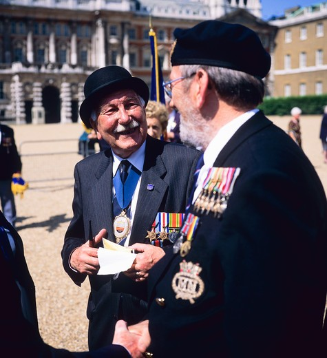 Stock Photo: 4285-15427 NORMANDY VETERANS WITH MEDALS AT PARADE WHITEHALL LONDON ENGLAND GB UK