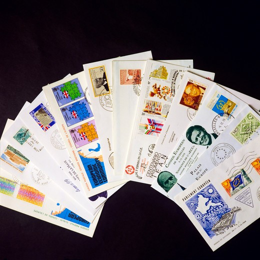 EUROPEAN MAIL WITH 1st DAY COVERS AND COLLECTOR POSTAGE STAMPS : Stock Photo
