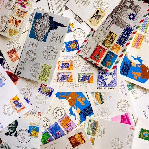 Stock Photo: 4285-15468 EUROPEAN MAIL WITH 1st DAY COVERS AND COLLECTOR POSTAGE STAMPS
