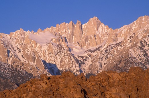 Stock Photo: 4285-1551 Morning light on Mount Whitney from the Alabama Hills, Sequoia National Park, Sierra Nevada Mountains, California