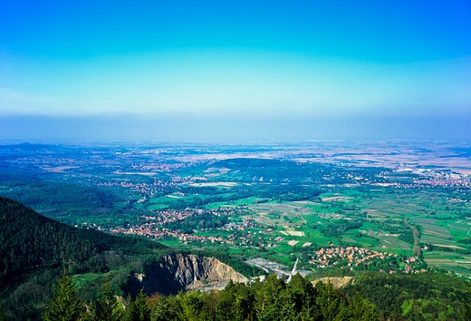 ALSACE PLAIN PANORAMA FROM HAUT-KOENIGSBOURG CASTLE FRANCE : Stock Photo