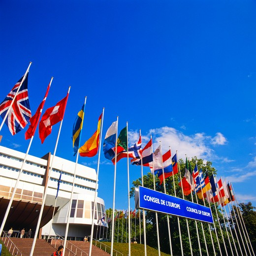 Stock Photo: 4285-16166 EUROPEAN FLAGS & PALAIS DE L'EUROPE COUNCIL OF EUROPE STRASBOURG ALSACE FRANCE