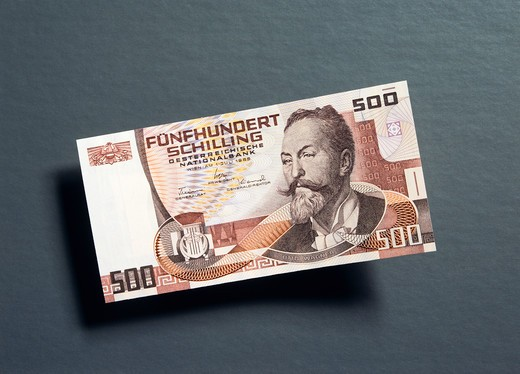 1 FORMER 500 AUSTRIAN SCHILLING BANKNOTE : Stock Photo