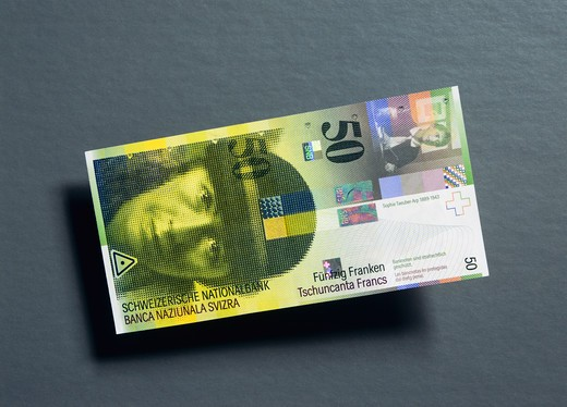 Stock Photo: 4285-16234 8 50 SWISS FRANCS BANKNOTE