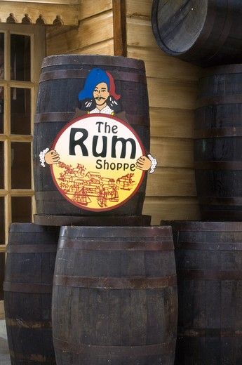 Stock Photo: 4285-16604 Rum Shoppe Sign, Redcliffe Quay in St. John?s, Antigua, West Indies