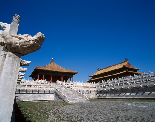 Halls of Middle Harmony and Preserving Harmony, Imperial Palace, Forbidden City, Beijing, China : Stock Photo
