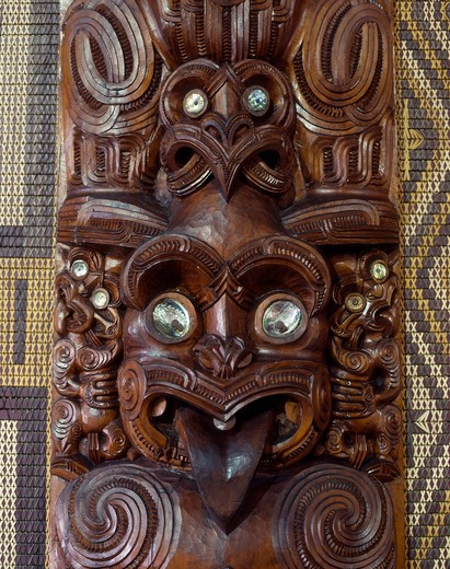 Stock Photo: 4285-16918 Traditional Maori Carving at Bay of Islands, North Island, New Zealand
