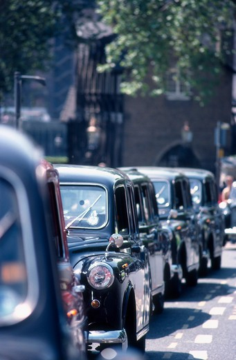 London Black Taxis in London, United Kingdom ( Great Britain ) : Stock Photo