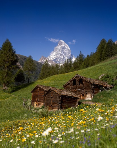 The Matterhorn and Traditional Houses, Valais, Switzerland : Stock Photo
